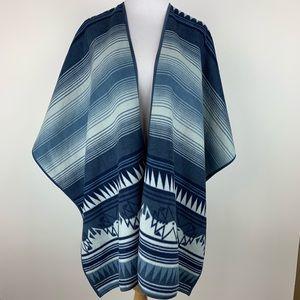 WOOLRICH Blue Aztec Western Fleece Wrap One Size